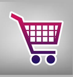shopping cart sign purple gradient icon vector image