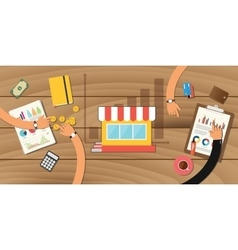 Small business growth store with graph team work vector