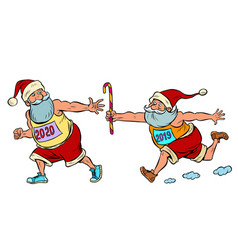 sports relay santa claus old 2019 and new 2020 vector image