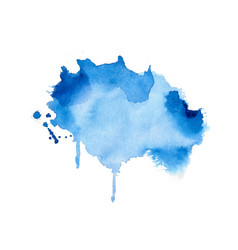 stylish blue watercolor stain texture background vector image