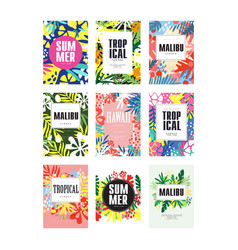 Summer banners set malibu hawaii tropical vector