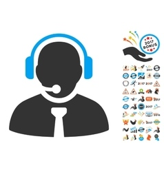 Support manager icon with 2017 year bonus symbols vector