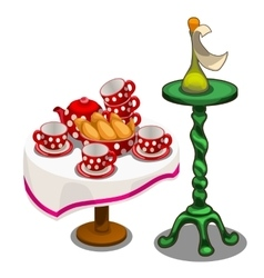 Tea set with pastries on table and other decor vector