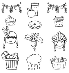 Thanksgiving set object on doodles vector image