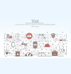 thin line art vet poster banner template vector image