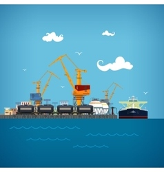 Unloading of liquids in the cargo sea port vector