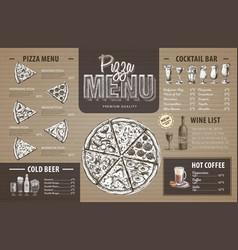 vintage pizza menu design on cardboard vector image