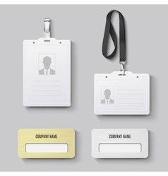 White blank plastic with clasp lanyards id badge vector