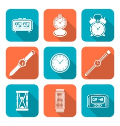 White color flat style various watches clocks vector