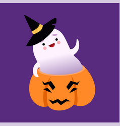 white little ghost wearing witch hat cute vector image