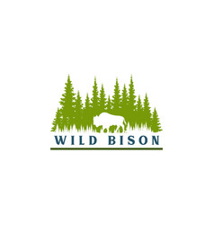 Wild bison and pine forest silhouette logo vector