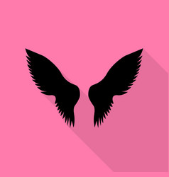wings sign black icon with flat vector image