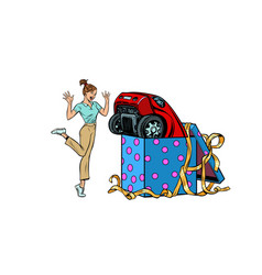 Woman surprise car gift isolate on white vector