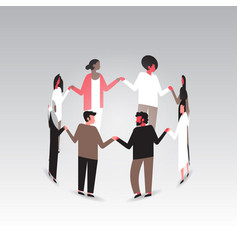 World aids day awareness mix race people group vector