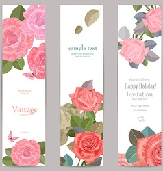 collection vertical banners with roses for your vector image