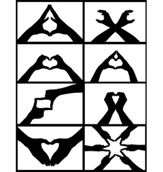 hand signs collage vector image vector image