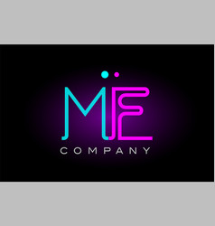 neon lights alphabet me m e letter logo icon vector image vector image