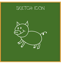 of animal symbol on pig doodle vector image