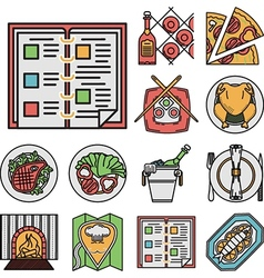 Restaurant flat color icons vector image vector image