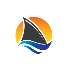 shark fin wild ocean sea animal abstract logo vect vector image
