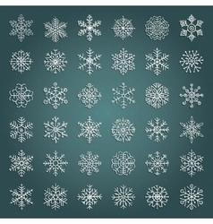 White Hand Drawn Winter Snow Flakes Doodles vector image