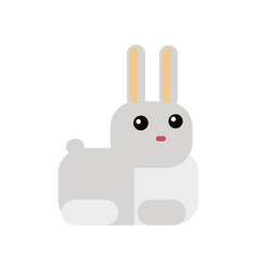white rabbit in flat style vector image