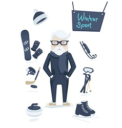 Athletic old man and winter sport vector image