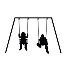Child silhouette on swing vector