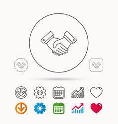Handshake icon deal agreement sign vector