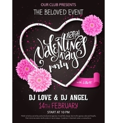 happy valentines day party poster with vector image