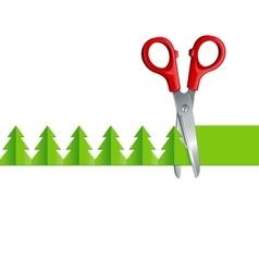 scissors cut Christmas tree vector image vector image