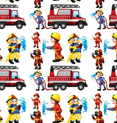 Seamless firefighters vector image vector image