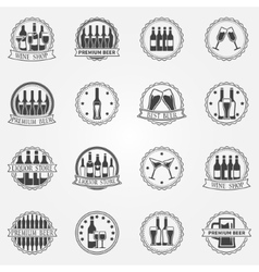 Wine and beer labels vector image vector image