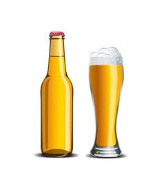 Beer mock up high glass goblet and bottle vector