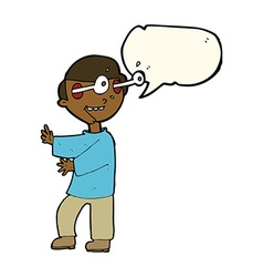 Cartoon boy with popping out eyes with speech vector