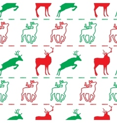 Christmas pattern deer green and red vector image vector image