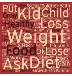 Is it OK to put my Kid on a Diet text background vector image vector image