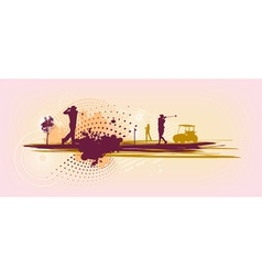 pink Golf Silhouettes vector image vector image