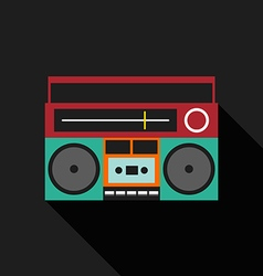 Retro vintage boombox radio flat design vector image vector image