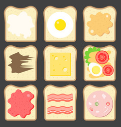 sliced bread with bread spreads vector image
