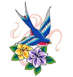swallow tattoo vector image vector image