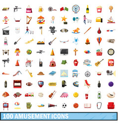 100 amusement icons set cartoon style vector