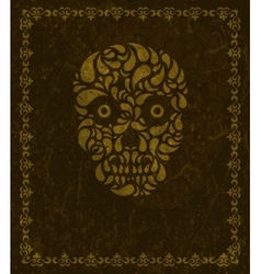 background with skull and frame vector image vector image