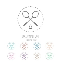 Badminton game icons - rackets with shuttlecock vector image