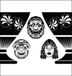 greek masks vector image vector image