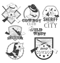 set of cowboy labels in vintage style Wild vector image vector image