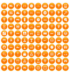 100 traffic icons set orange vector