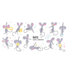 a set hand-drawn funny rats in different poses vector image