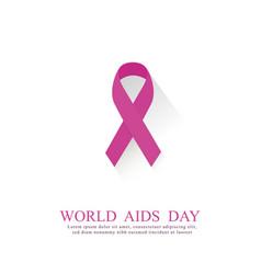 aids awareness pinck ribbon world aids day concept vector image