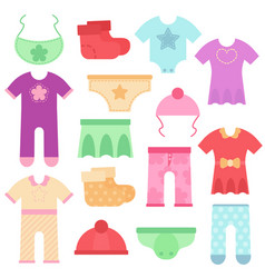 Baby clothes kids colorful and bright bodysuits vector